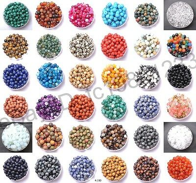 Natural Gemstone Round Spacer Loose Beads 4MM 6MM 8MM 10MM 12MM