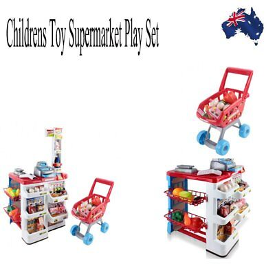 Childrens Toy Supermarket Play Set Pretend Play Toy Trolley with Accessories