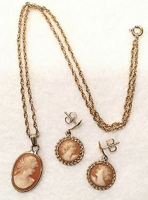 3pc c.1920s Hand Carved Shell Cameo Pendant & Earring Set w/ Gold Filled Frames