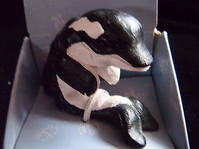 Adorable little ceramic whale ornament - Orca by Regency Fine Arts