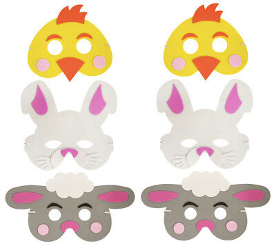 6 Easter Foam Masks - Pinata Toy Loot/Party Bag Fillers Kids Bunny Sheep Chicken