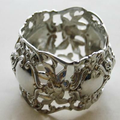 Heavy Antique German 800 Silver Napkin Ring, Reticulated