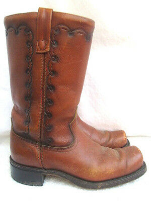 Vtg 1970's..hippie..square Toe..acme..leather..western..boots..u.s.a. Made..8.5
