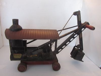 ANTIQUE 1920's KEYSTONE STEAM SHOVEL RIDE ON TOY CRANE ALL ORIGINAL WITH DECALES