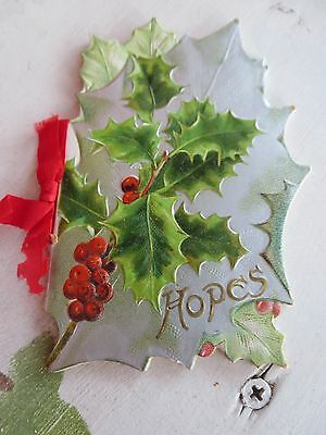 Die Cut Holly Booklet Hopes From New Years Wishes Fr Havergal Art Litho Pub Co