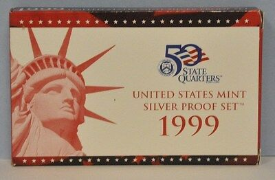 1999 Silver Proof 9 Coin Set US Mint in Original Box With COA