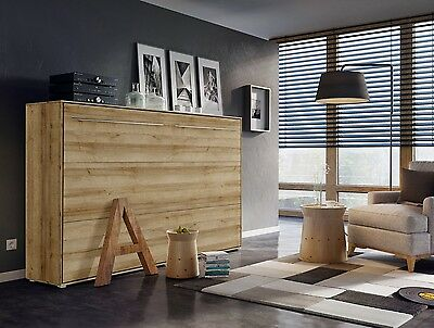 Modern Horizontal Wall Hidden Fold Away Pull Out Murphy Bed 3 Sizes Oak Riviera