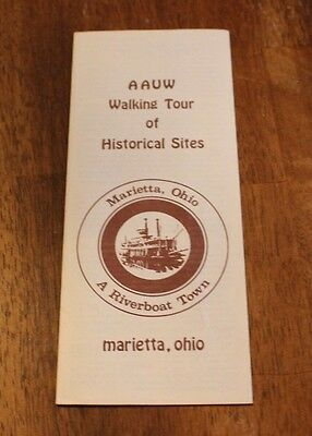 Vtg Pamphlet AAVW Walking Tour of Historical Sites Marietta Ohio Riverboat #435