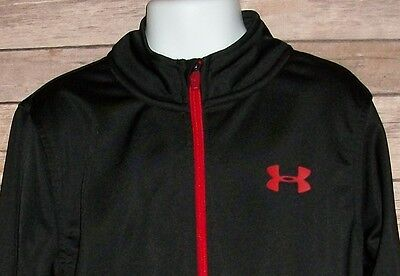 Under Armour Boy's Size 6 Black Red Full Zip Jacket