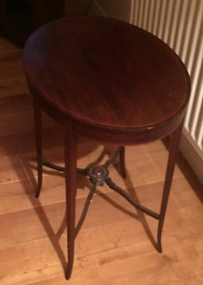 Vintage Solid Wood Oval Occasional Table Shabby Chic/antique