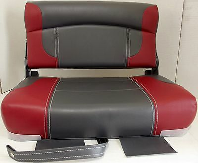 """DeckMate 24"""" Wide Charcoal/Red Bass Boat Bench Seat #CS24-401"""