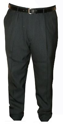 Mens Big Size Easy Care Pleated Front Pin Stripe Suit Trousers (Carter)