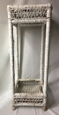 Vintage Antique White Wicker Plant Stand 30 Inch Needs TLC