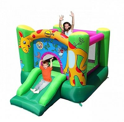 Chateau Giostra Gonflable Girafe Avec Pompe Inclus Happy Hop