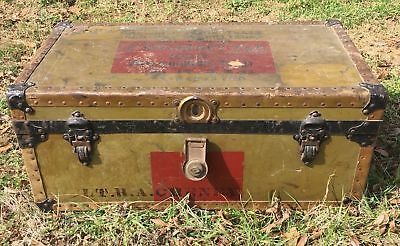 Vintage WWI Military Trunk Footlocker w Tray 102nd Ammunition Train Lt RA Cheney