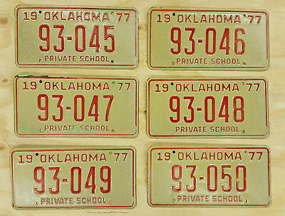 Lot of 6 1977 Oklahoma License Plates Running Numbers Private School Tag