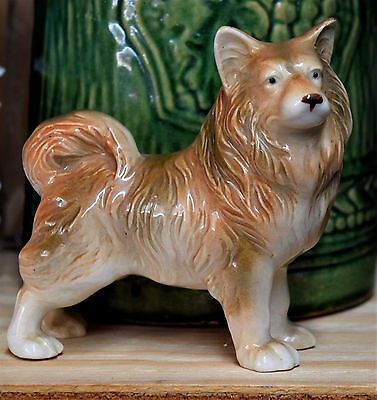"1960's VINTAGE 4"" CHOW / AKITA CERAMIC FIGURINE ~ BEST COAT"