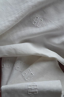 """6 pure linen GC monogrammed damask napkins, thick heavy and unused, 33½"""" x 26½"""""""
