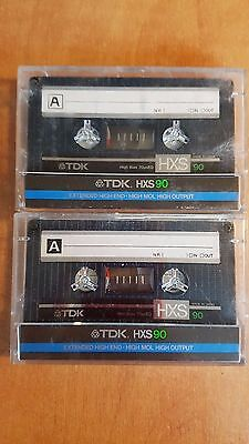 2 x TDK HXS90 Audio Cassettes With Index Cards