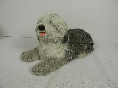 SIGNED Sandicast Old English Sheepdog Handpainted USA Sandra Brue 1983 Doorstop