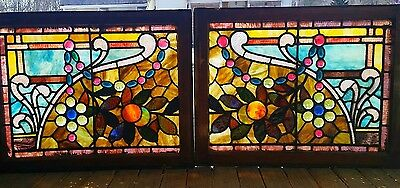 GREAT PR OF JEWELED STAINED GLASS WONDOWS 21 BY 27 each