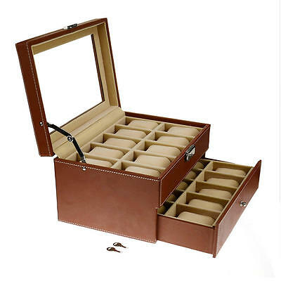 20 Slots grids Watch Display Case Storage Faux Leather Jewelry Organizer 2Tiers