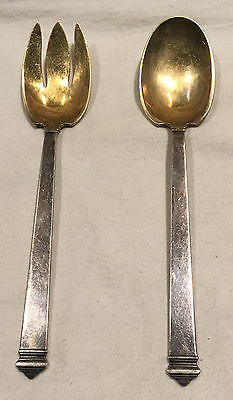 Rare Tiffany & Co Hampton Gold Wash 925 Sterling Silver Serving Spoon & Fork Set