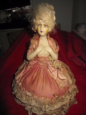 Antique Pincushion Doll With Blonde Mohair Hair