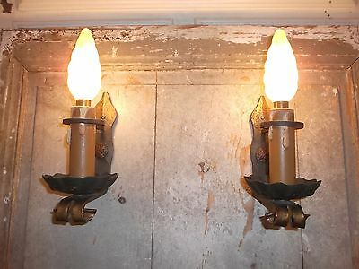 French a pair of antique/vintage iron solid wall light sconces rustic  detailed