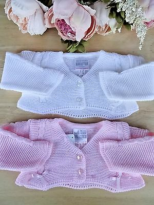 Baby Girl White or Pink Bow Cable Detail Special Occasion Bolero Cardigan NB-3-6