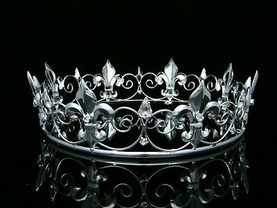 Mens Full Kings Crown for Theather Prom Party - Clear Crystals Silver Plating