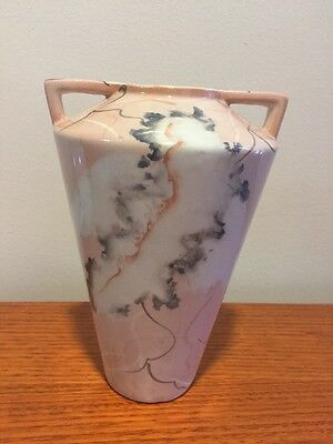 Antique Art Deco Style Vase Pink Gray 19cm