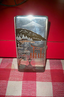 Antique Japanese 950 Silver Etched Fuji Harbor Scene Cigarette Case Mixed Metal