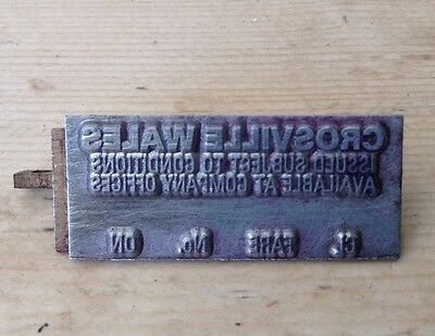 ALMEX TICKET MACHINE PRINT PLATE - Crosville