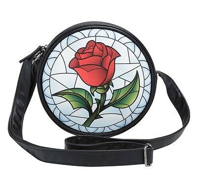 Disney Beauty And The Beast Stained Glass Enchanted Rose Crossbody Bag Purse