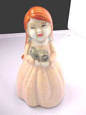 """Cat Bell Ceramic Girl holding a 4"""" Tall"""