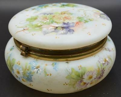 Vintage Wave Crest Highly Decorated Floral Hinged Jewelry Dresser Box ~ Nice