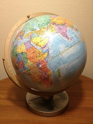 "Vtg Repogle Globe World Nations Series Raised Topography U.S.S.R 12"" Metal base"