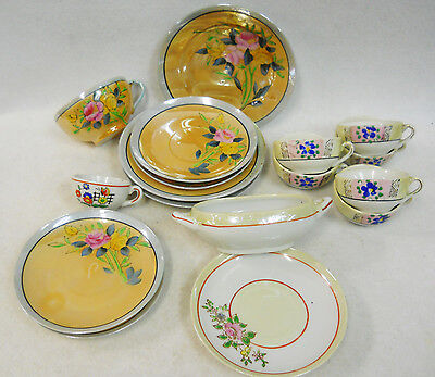 Vintage Hand Painted Lusterware Child's Toy Dishes Tea Set Assortment Lot of 17