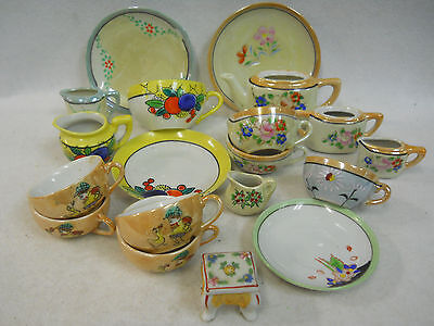 Vintage Hand Painted Lusterware Child's Toy Dishes Tea Set Assortment Lot of 19