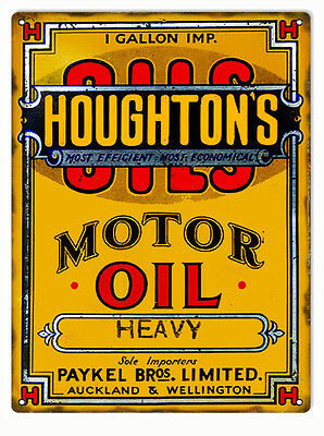 """Houghtons Motor Oil Advertisement Gas Station Sign 9"""" x 12"""""""
