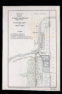 1899 Philippines Map Battle of Marilao River March 27th UTAH GUNS Trenches RARE