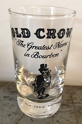 "Vintage Old Crow Bourbon Glass ""The Greatest Name In Bourbon"" Frankfort Ky"