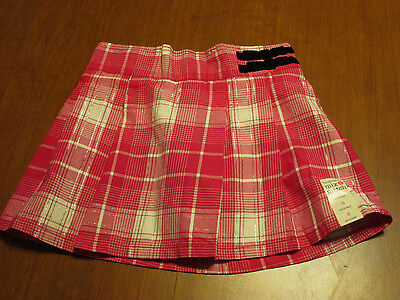 Girl's Pink And White Plaid Pleated Scooter - Skort - Toughskins - New With Tags