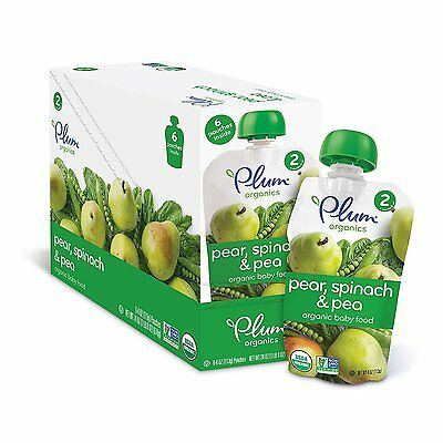 Plum Organics Stage 2, Organic Baby Food, Pear, Spinach and Pea, 4 ounce pouch