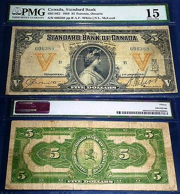The Standard Bank of Canada $5 ,1919 .Lovely Banknote 695-18-12 .PMG15