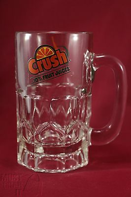 Orange crush soda pop Heavy clear glass mug Advertising tankard