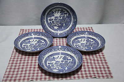 "LOT of 4 Churchill 8"" Coupe Pasta or Salad Bowls Blue Willow England, MINT!"