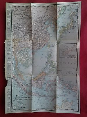 1904 Map of CHINA, FRENCH INDO-CHINA, SIAM, MALAYSIA, Korea, Japan