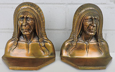 Bookends Indian Solid Brass Deco 1922 Chief Sachem